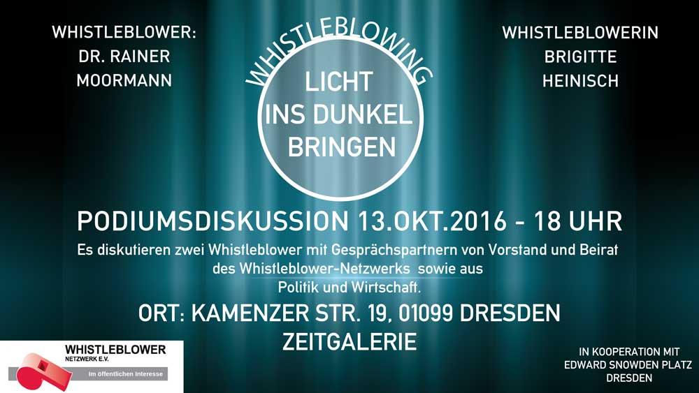 Podiumsdiskussion im Rahmen der austellung Whistleblowing - Licht ins Dunkel bringen